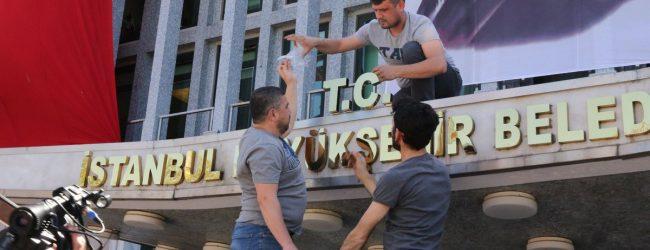 """İmamoğlu Talimat Verdi İBB Binasına """"T.C."""" İbaresi Eklendi"""