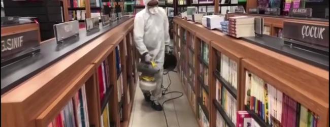 Kıdemli Kitabevi&Kırtasiye Mağazaları Dezenfekte Ediliyor